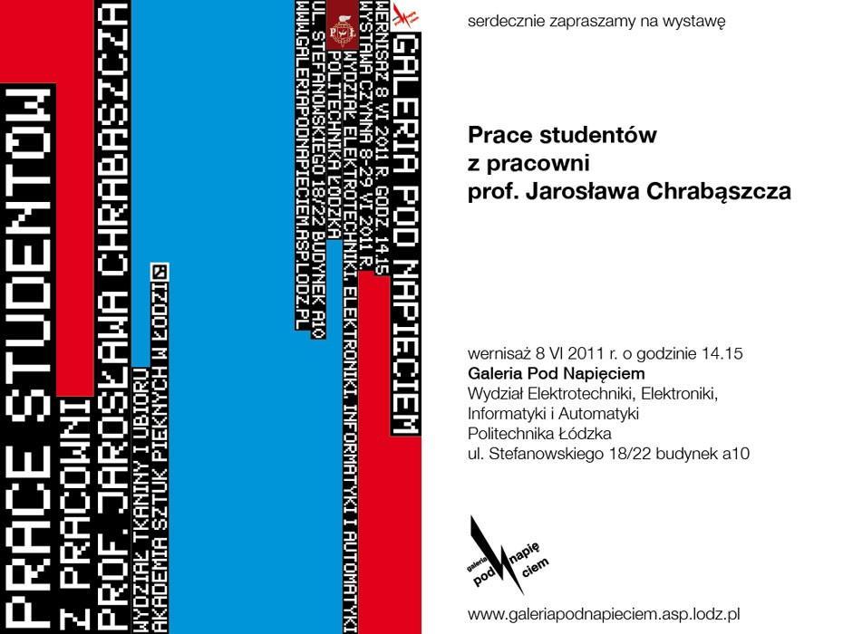 Wystawa Prac studentów z pracowni prof. Jarosława Chrabąszcza - zaproszenie, materiał udostępniony przez organizatora
