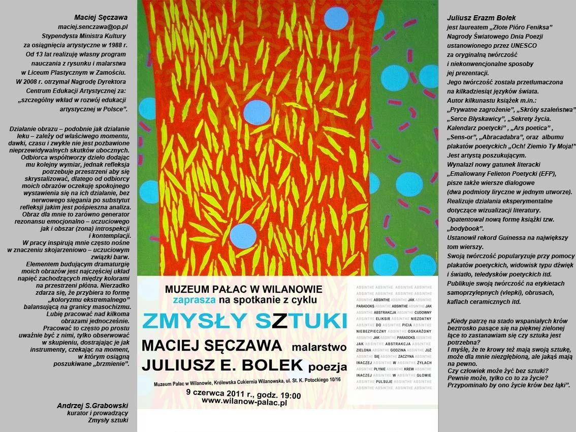 """spotkanie z cyklu """"Zmysły sztuki"""" w Muzeum Pałac w Wilanowie, zaproszenie - materiał udostępniony przez organizatora"""