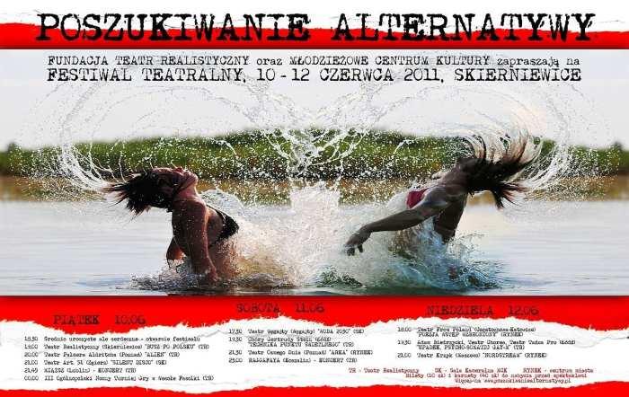 """Festiwal Teatralny """"Poszukiwanie Alternatywy 2011"""" plakat (zdjęcie pochodzi z materiałów organizatora)"""