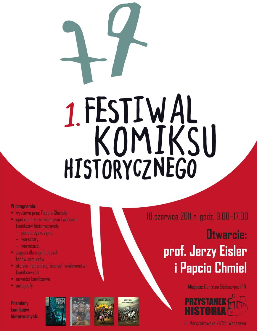 """""""I Festiwal Komiksu Historycznego""""-plakat, materiał udostępniony przez organizatora"""