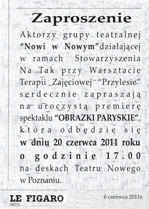 """Grupa """"Nowi w Nowym"""", spektakl """"Obrazki paryskie"""", zaproszenie, materiał udostępniony przez organizatora"""