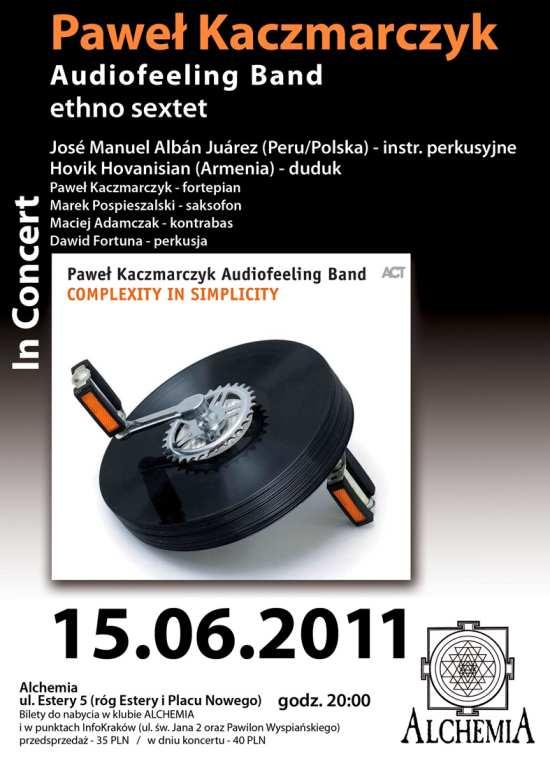 Paweł Kaczmarczyk Audiofeeling Band ethno sextet, plakat (zdjęcie pochodzi z materiałów organizatora)