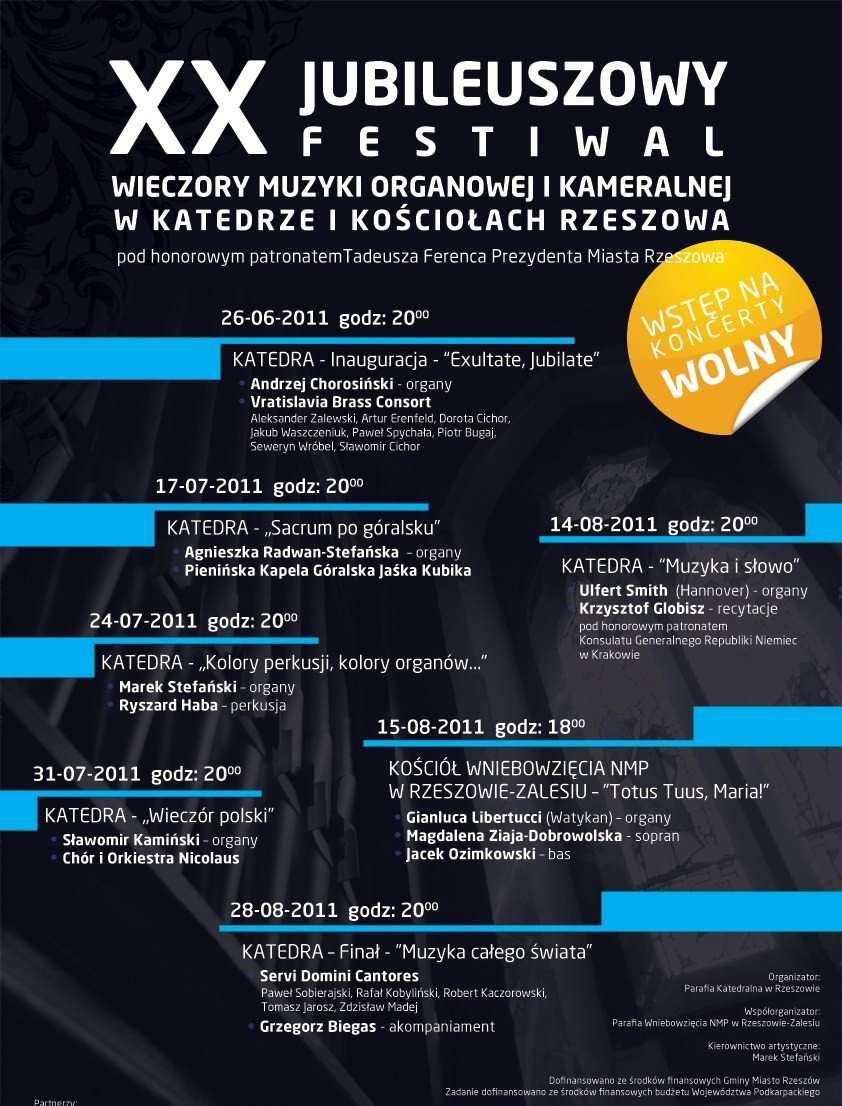 """XX Jubileuszowy Festiwal """"Wieczory Muzyki Organowej i Kameralnej w Katedrze i Kościołach Rzeszowa"""", plakat (zdjęcie pochodzi z materiałów organizatora)"""