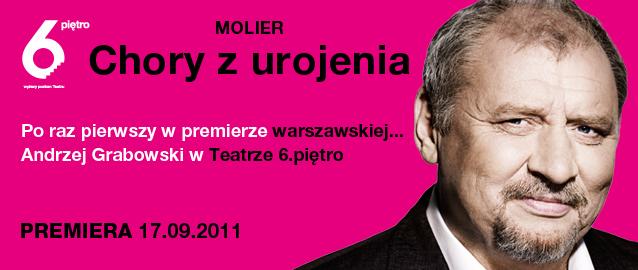 Plakat spektaklu Chory z urojenia w Teatrze 6. Piętro w Warszawie (z materiałów organizatora)
