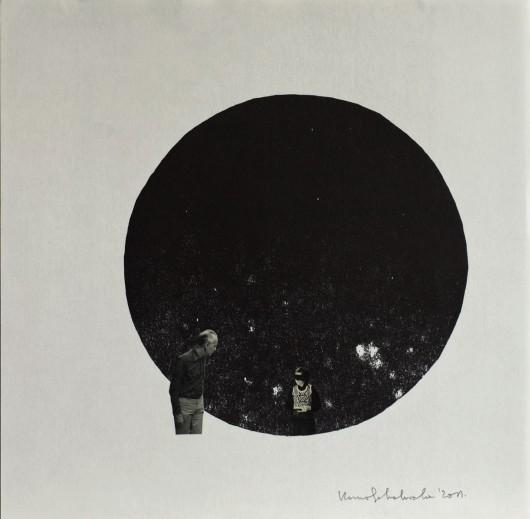 Kama Sokolnicka, seria V, z cyklu Disappoint of View, linoryt i kolaż, 2011, dzięki uprzejmości artystki