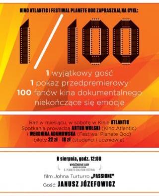 Plakat cyklu spotkań1/100 (plakat pochodzi z materiałów udostępnionych przez organizatora)