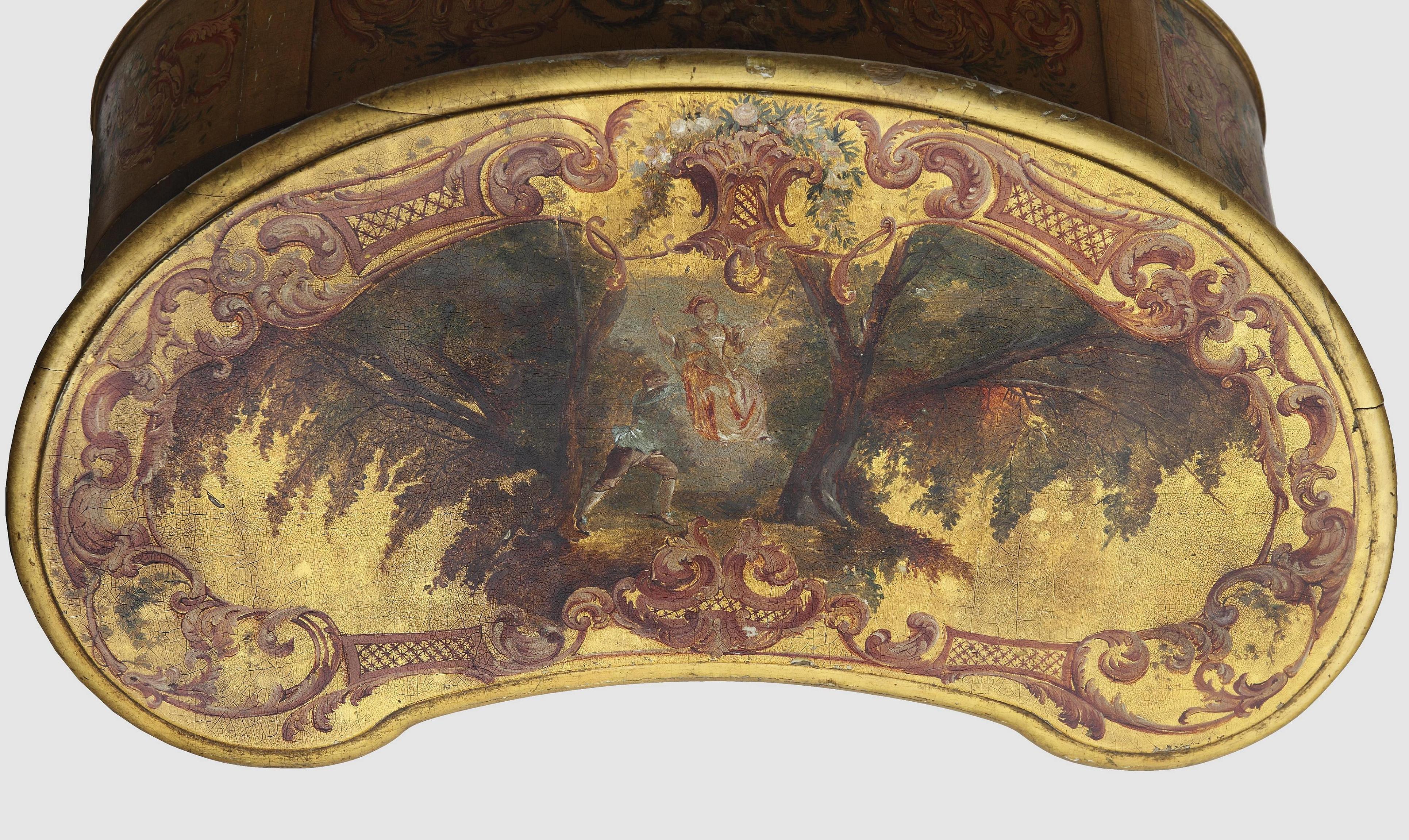 Polska (?); Stolik-nerka ze scenką rodzajową; ok. 1880; stolarka, pozłacanie, polichromia; brzoza, stal