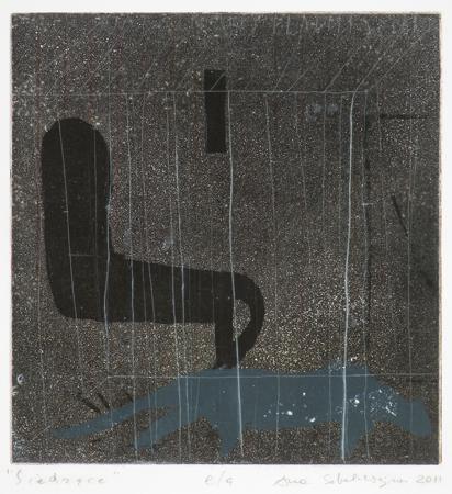 Anna Sobol – Wejman Siedzące, 2011, akwatinta, 33,5x32 cm (źródło: materiały Galerii Grafiki i Plakatu)