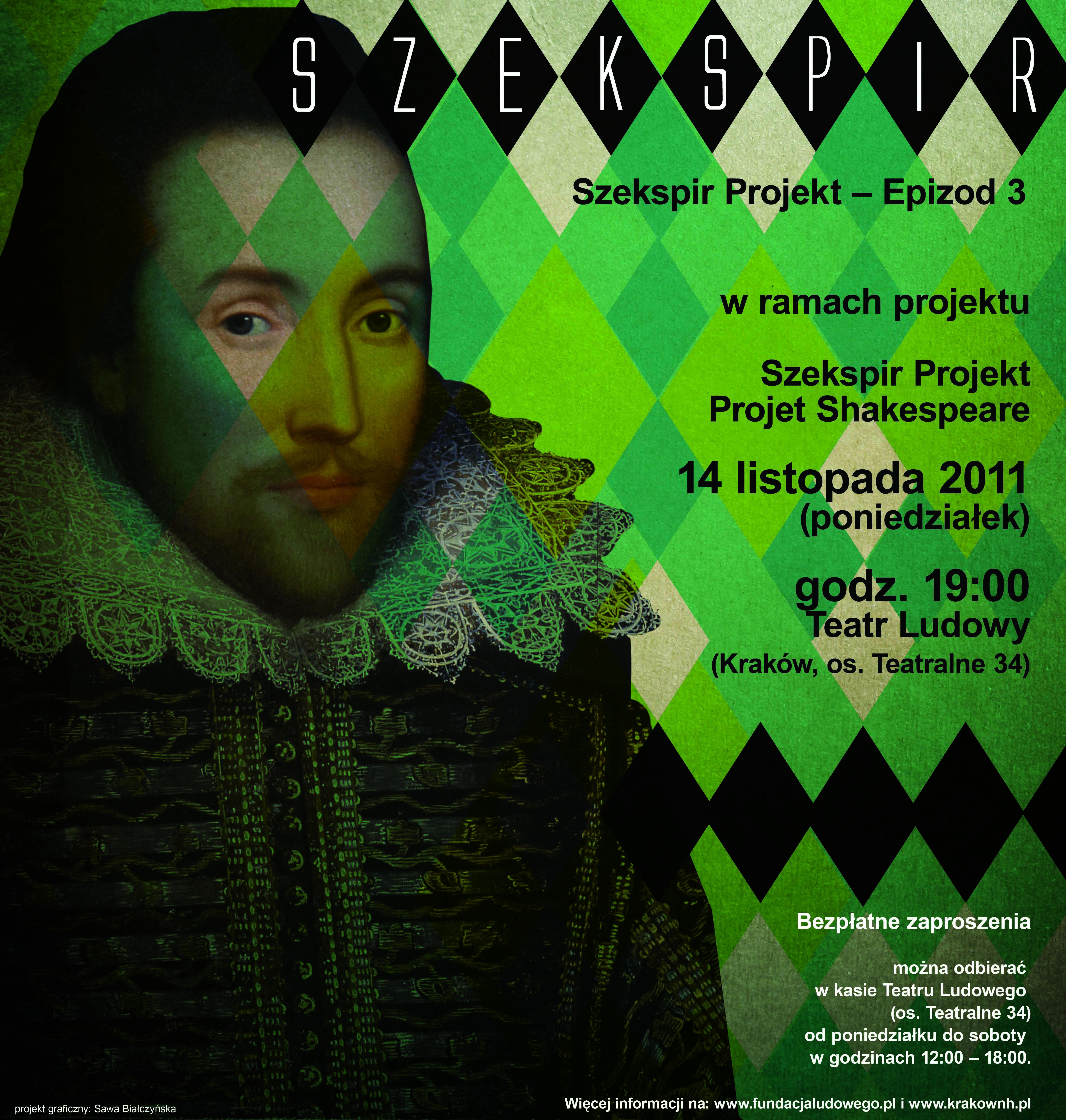 """Plakat """"Projektu Szekspir"""" (źródło: materiały prasowe organizatora)."""