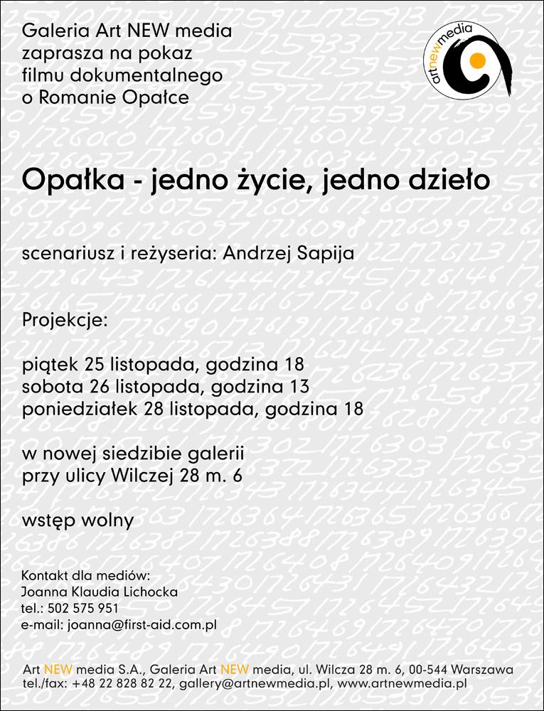 Roman Opałka - jedno życie, jedno dzieło, reż. Andrzej Sapija (źródło: materiały prasowe organizatora)