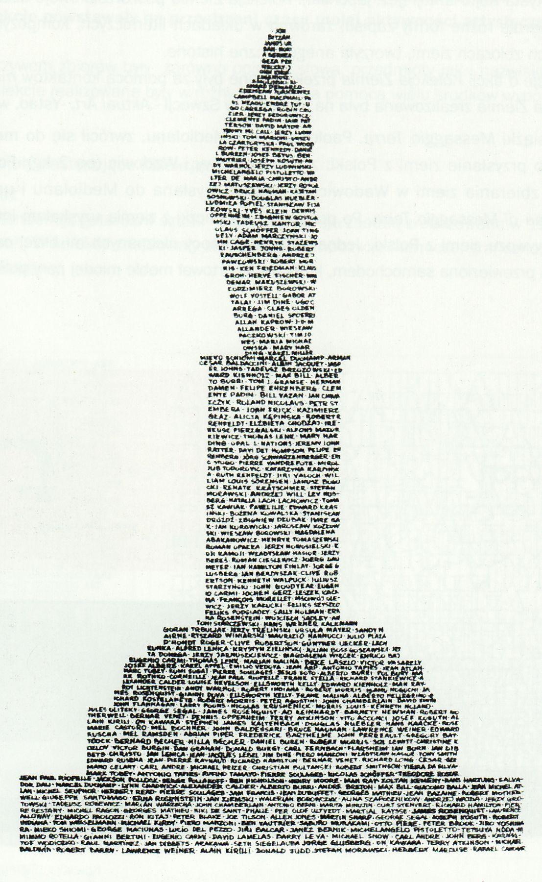 """Wanda Gołkowska, """"Pomnik sztuki – kolekcja nazwisk artystow"""", 1972 (źródło: materiały prasowe)"""