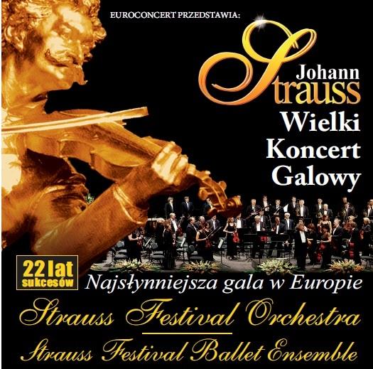 Plakat promujący koncert galowy muzyki Straussa (źródło: materiały prasowe organizatora)