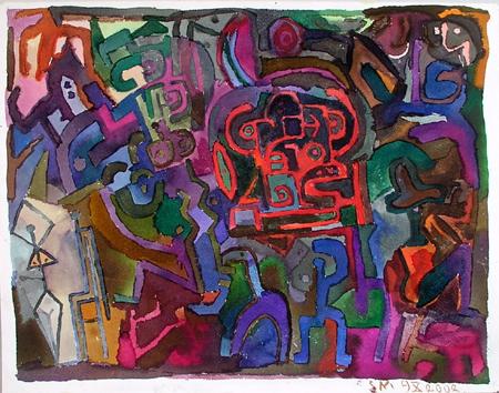 Stanisław Młodożeniec, Kompozycja 9, 2002, ekolina, papier, 32 x 41 cm