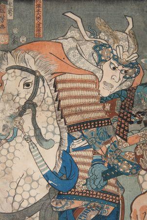 Bitwa na równinie Kawanakajima. Bezpośrednie starcie Uesugi Kenshina z Takedą Shingenem; 1855; lewa plansza tryptyku (źródło: materiał prasowy)