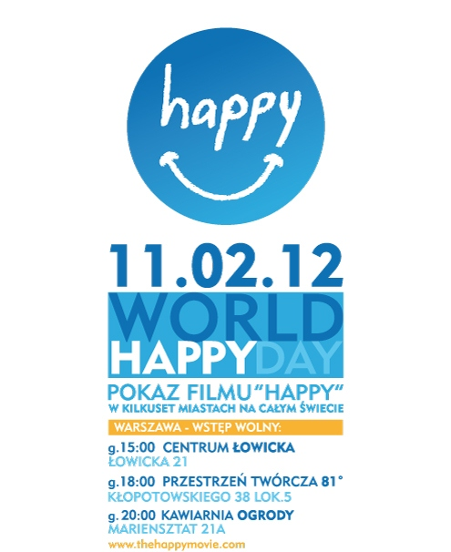 Plakat promujący projekcję filmu Happy 11 lutego 2012 r. (źródło: materiał prasowy organizatora)