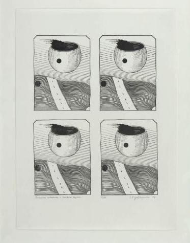 """Stanisław Fijałkowski, """"Poczwórna autostrada w żenskim pejzażu"""", 1974 (źródło: materiał prasowy)"""