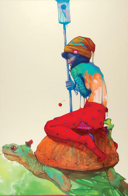 Etam, The journey, 2012, akryl, olej, płótno, 120 x 80 cm, sygn. na odwrocie: Etam 2012 / Bezst Sainer. Jest to pierwsza wspólna praca artystów wykonana na płótnie (źródło: materiały prasowe)