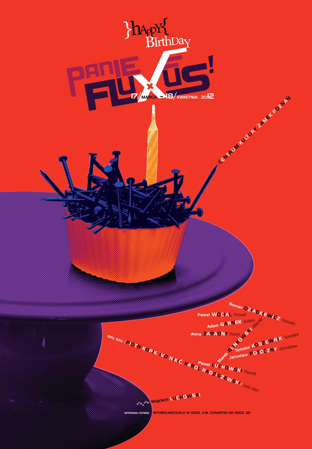 """""""Happy birthday Panie Fluxus!"""", plakat (źródło: materiały prasowe organizatora)"""