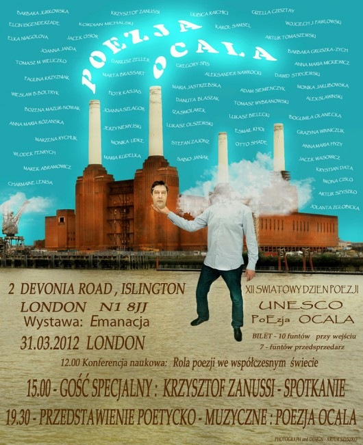 """Plakat promocyjny XII Światowego Dnia Poezji UNESCO """"PoEzja OCALA"""" (źródło: materiały prasowe)"""