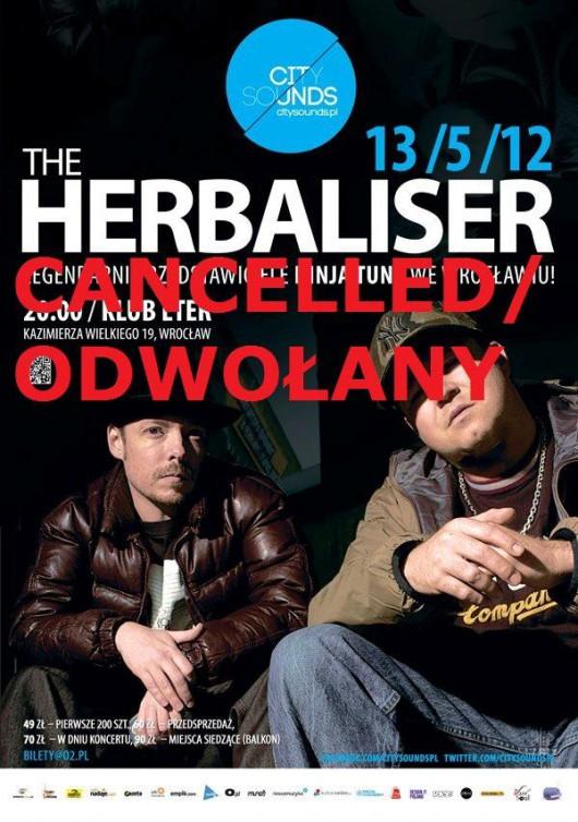 Oficjalny afisz informujący o odwołaniu koncertu grupy Herbaliser (źródło: materiały prasowe)
