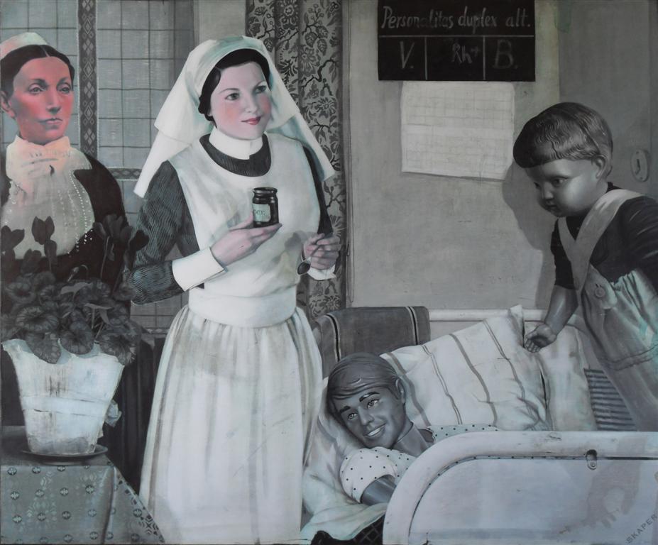 """Ewa Skarper, """"Gloria odwiedza przyjaciela w klinice"""", olej i tempera jałowa na płótnie (źródło: materiały prasowe)"""