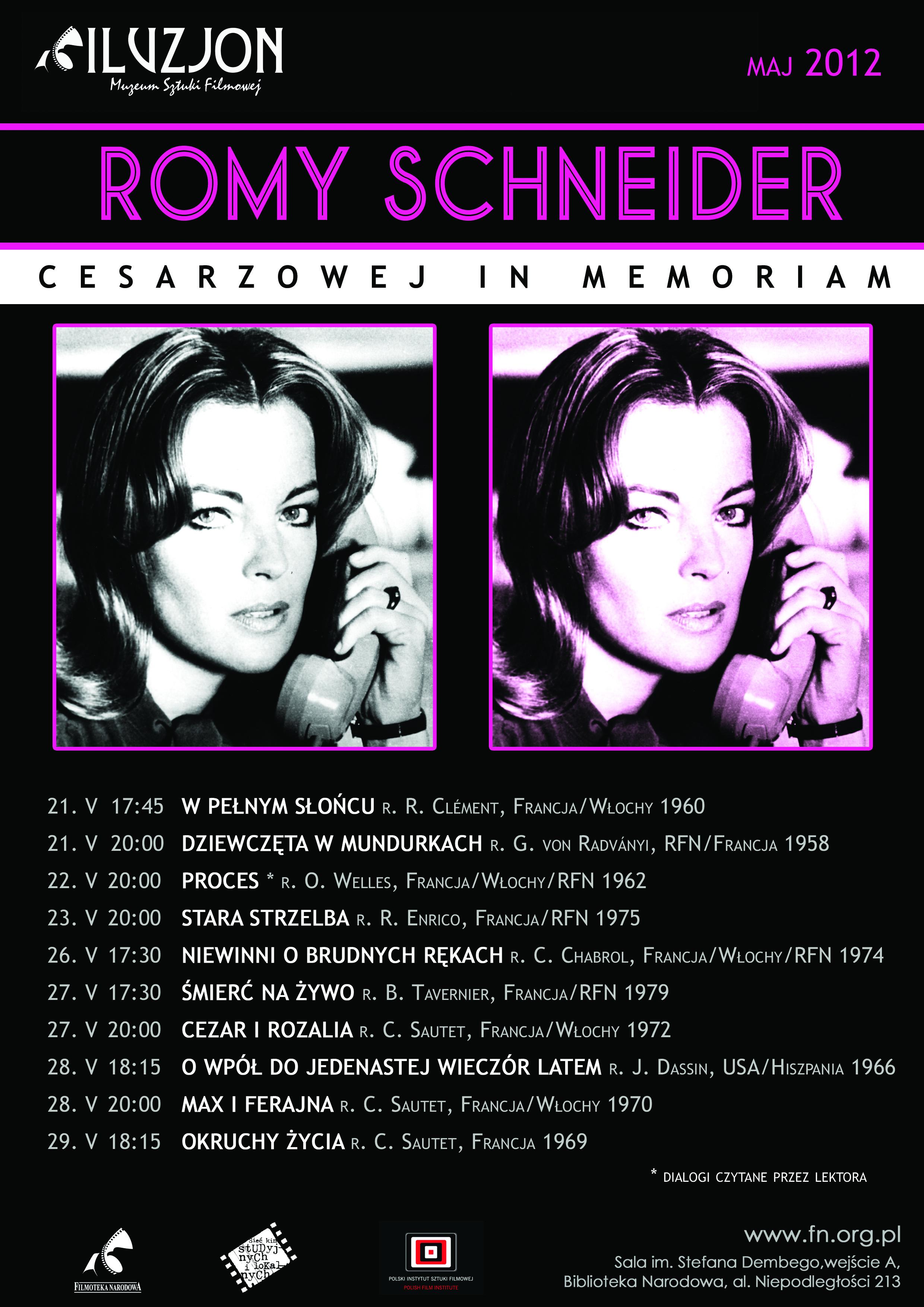 """Plakat przeglądu """"Romy Schneider - Cesarzowej in memoriam"""" (źródło: materiały prasowe)"""