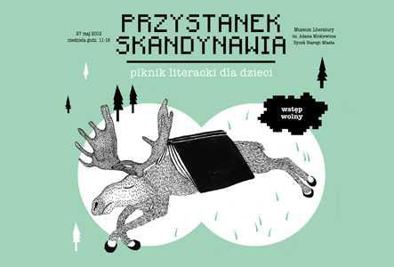 """Plakat pikniku litererackiego dla dzieci """"Przystanek Skandynawia"""""""