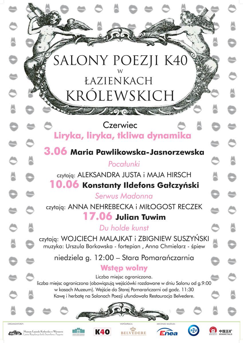 Plakat czerwcowych Salonów Poezji K40 w Łazienkach Królewskich (źródło: materiały prasowe)