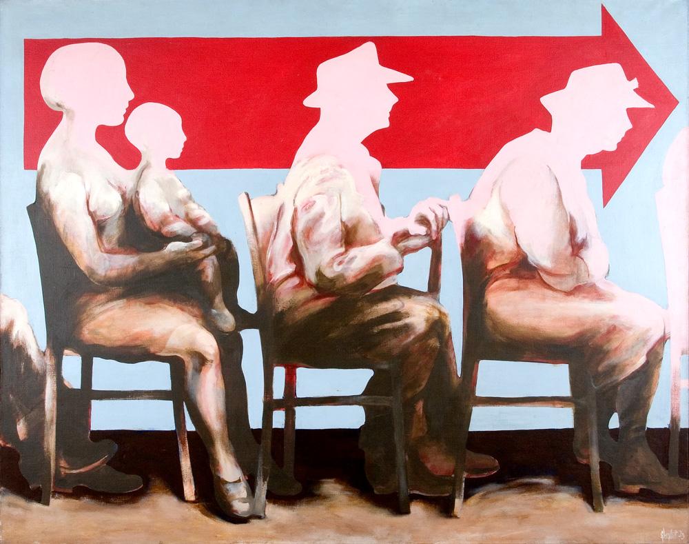 """Zbylut Grzywacz, """"Kolejka jeszcze trwa"""" , olej na płótnie, 1973 (źródło: materiały prasowe)"""