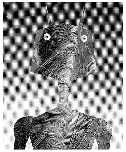 """Daniel Mróz, """"Elektrycerz"""", ilustracja do opowiadań z cyklu """"Cyberiada"""", 1965 (źródło: materiały prasowe)"""