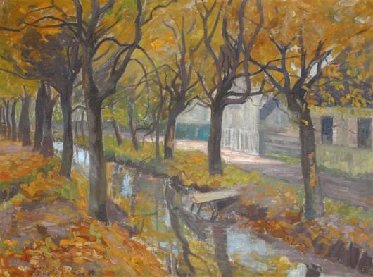 """Johanna Pistorius (1881-1965), """"Kanał we Wrocławiu"""", 1908, olej na płótnie (źródło: materiały prasowe organizatora)"""