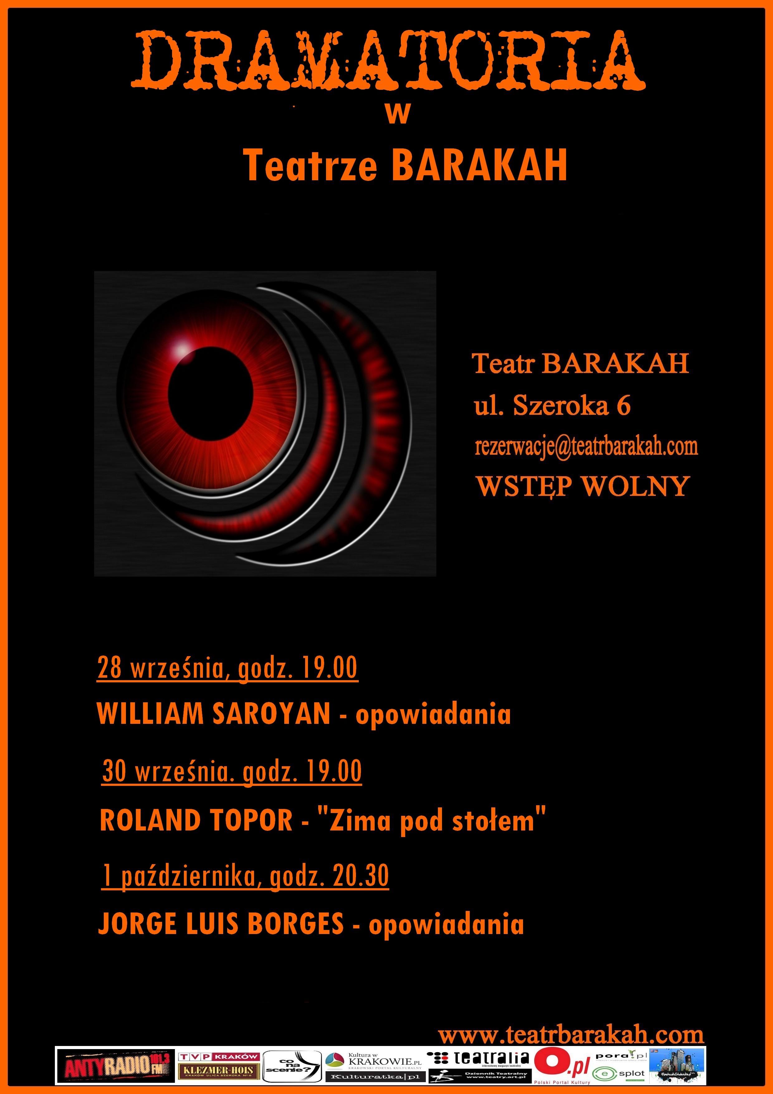Dramatoria w Teatrze Barakah, plakat (źródło: materiały prasowe organizatora)