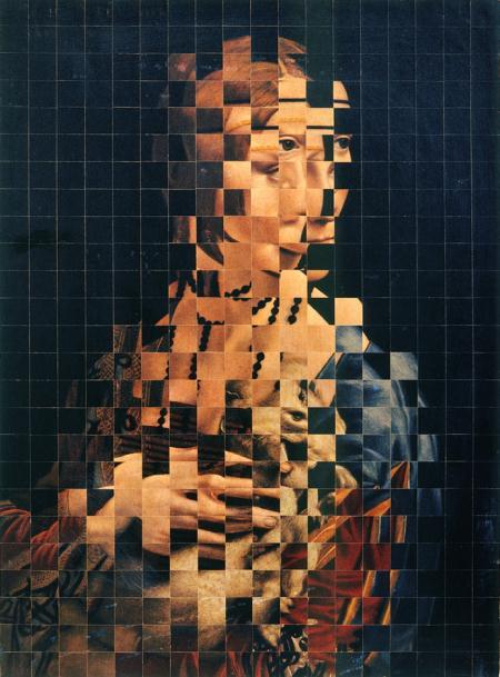 """Jiří Kolář, """"Dama z łasiczką"""", 1966, rolaż i chiazmaż, Neues Museum (źródło: materiały prasowe organizatora)"""