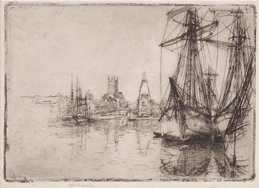 """Józef Pankiewicz, """"Port w Fécamp"""", akwaforta, 1907, wł. Muzeum Narodowe w Krakowie (źródło: materiały prasowe)"""
