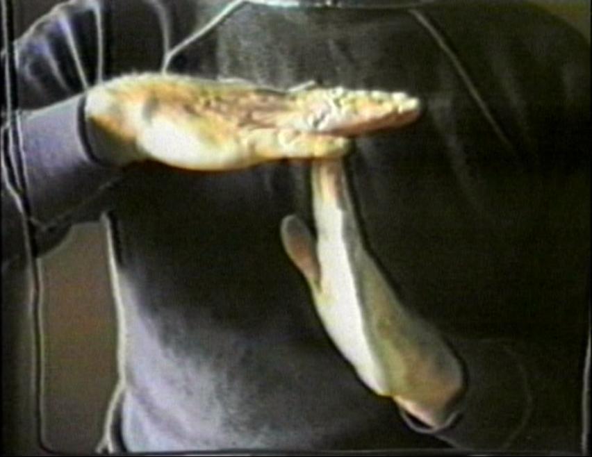"""Józef Robakowski, """"Mój teatr"""", wideoperformance, 1985, 9', Kolekcja Galerii Wymiany (źródło: materiał prasowy organizatora)"""