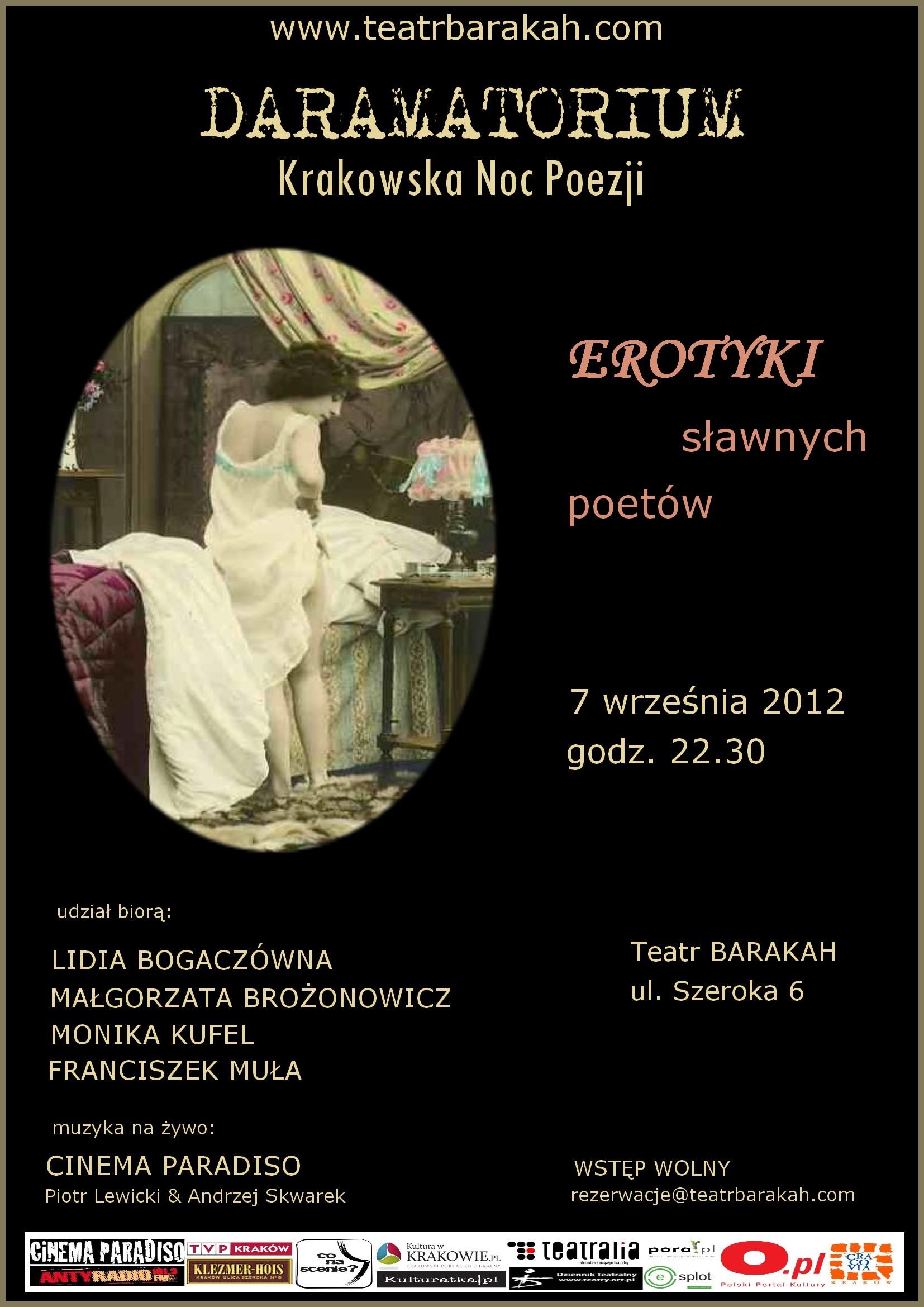 Plakat Nocy Poezji w Teatrze Barakah (źródło: materiały prasowe organizatora)
