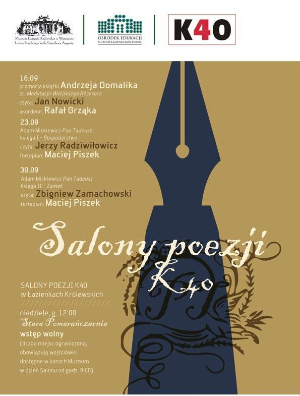Salony Poezji K40 w Łazienkach Królewskich(źródło: materiały prasowe organizatora)