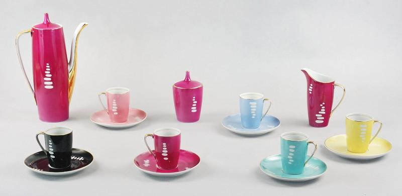"""Serwis do kawy """"Goplana"""", porcelana, natrysk, złocenia (źródło: materiały prasowe organizatora)"""