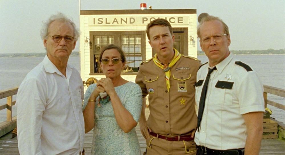 """Bill Murray, Frances McDormand, Edward Norton i Bruce Willis w filmie """"Kochankowie z księżyca"""" (źródło: materiały prasowe dystrybutora)"""