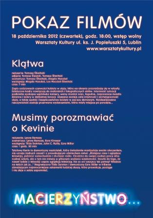 """Pokaz filmów w ramach wystawy """"Macierzyństwo…"""", plakat (źródło: materiały prasowe organizatora)"""