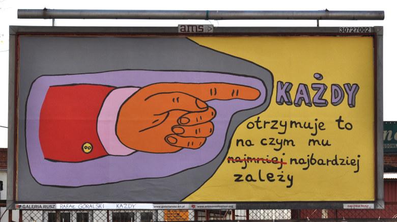 """Rafał Górski, """"Każdy"""", bilboard Galerii Rusz w Toruniu (źródło: materiały prasowe organizatora)"""
