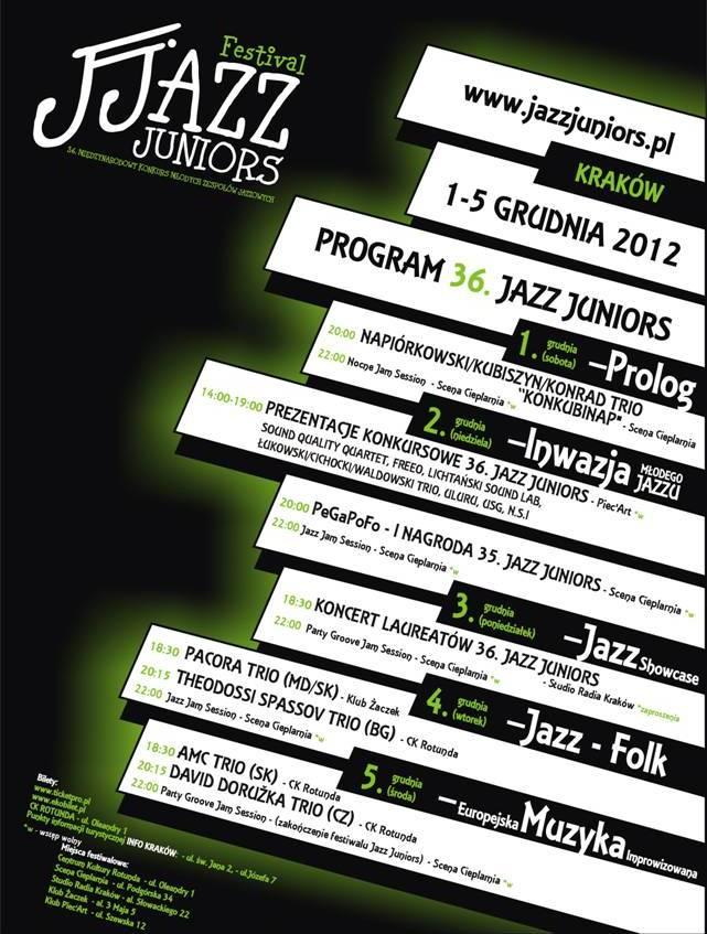 Plakat Festiwalu Jazz Juniors (źródło: materiały prasowe)