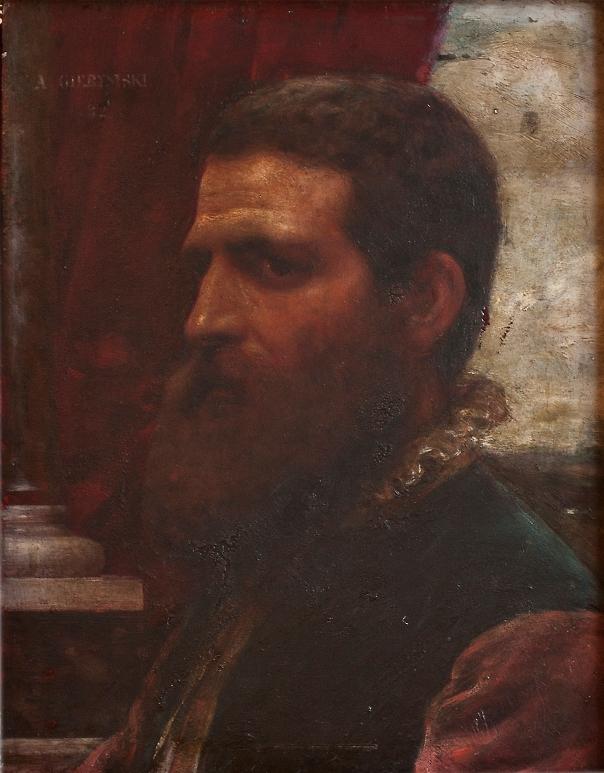 """Aleksander Gierymski, """"Popiersie mężczyzny w stroju renesansowym"""", 1882, olej na desce, 35 x 26,7cm, sygn. i dat. l. g.: A. Gierymski / 82, ze zbiorów kolekcji prywatnej (źródło: materiały prasowe organizatora)"""