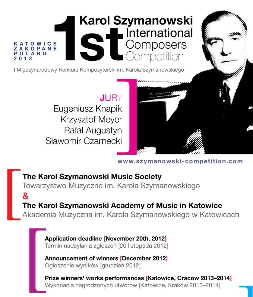 Plakat Międzynarodowego Konkursu Kompozytorskiego im. Karola Szymanowskiego (źródło: materiały prasowe)
