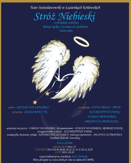 """""""Stróż Niebieski, czyli kolędy anielskie, dialogi rajskie i życzenia do spełnienia"""", plakat (źródło: materiały prasowe)"""