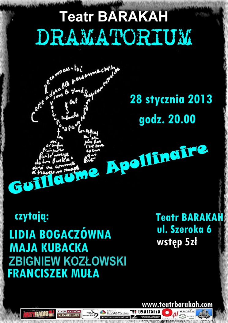 Guillaume Apollinaire, Dramatorium, Teatr Barakah, plakat (źródło: materiał prasowy)
