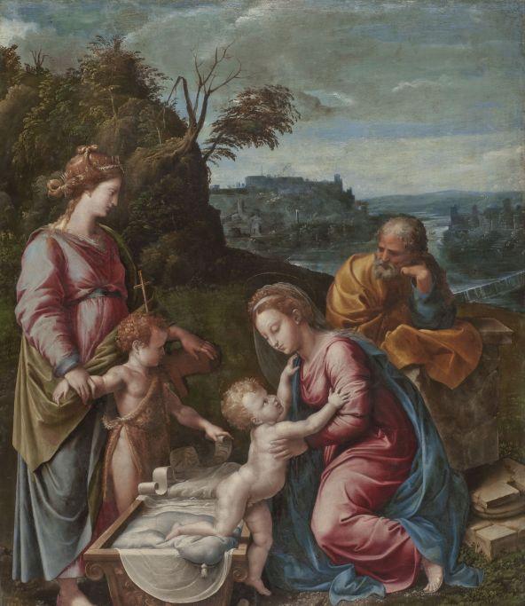 """Gianfrancesco Penni, """"Święta Rodzina ze św. Janem Chrzcicielem i św. Katarzyną Aleksandryjską"""", ok. 1521-22 (?), płótno, 125 x 93,5 cm, kolekcja prywatna, dzięki uprzejmości Childs Gallery w Bostonie (źródło: materiały prasowe organizatora)"""