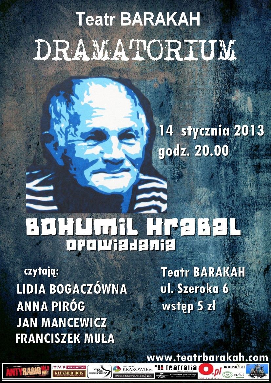Bohumil Hrabal, opowiadania, Dramatorium, Teatr Barakah, plakat (źródło: materiał prasowy)