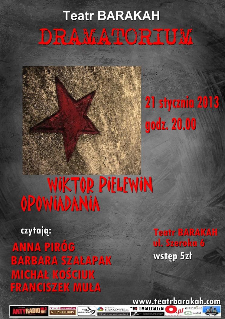 Dramatorium, Wiktor Pielewin, Teatr Barakah, plakat (źródło: materiał prasowy)
