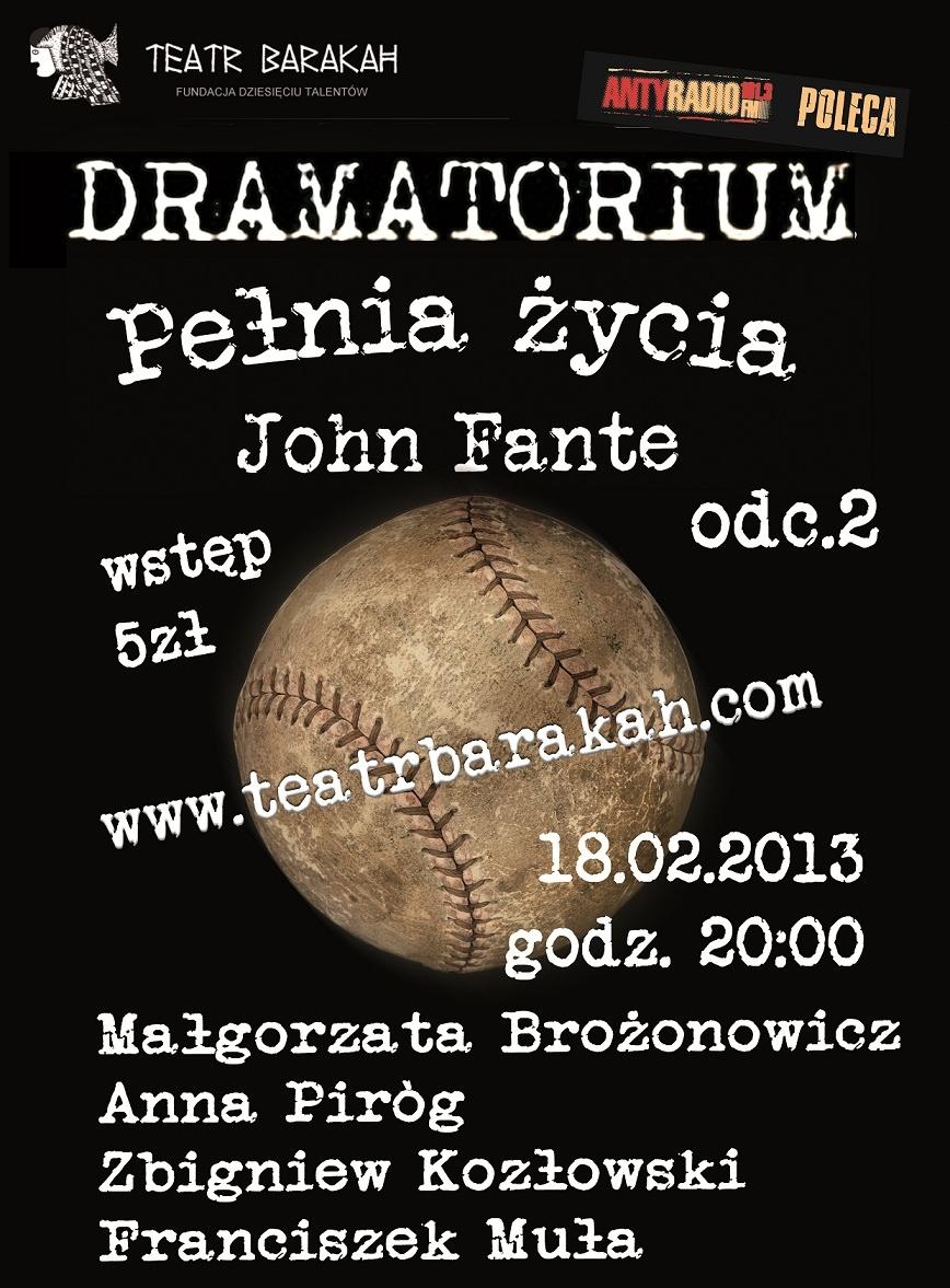"""John Fante, """"Pełnia życia"""", odc. 2, Dramatorium, Teatr Barakah, Kraków (źródło: materiał prasowy)"""